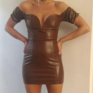 Revolve NBD cocoa vegan leather punk glam dress S